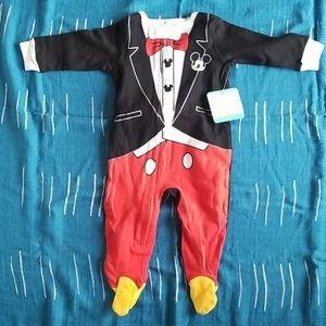 Mickey mouse tux zipper footie